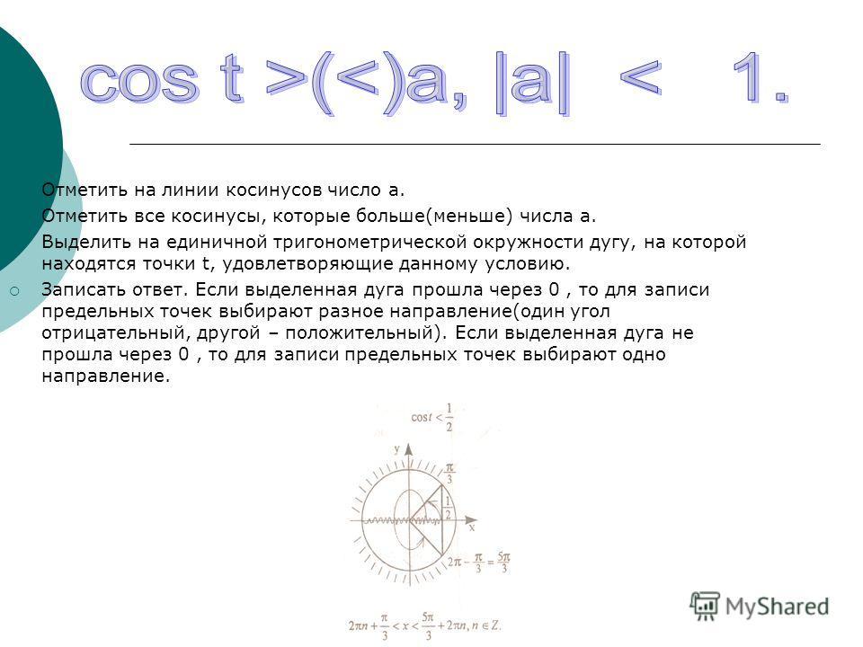 Отметить на линии косинусов число а. Отметить все косинусы, которые больше(меньше) числа а. Выделить на единичной тригонометрической окружности дугу, на которой находятся точки t, удовлетворяющие данному условию. Записать ответ. Если выделенная дуга