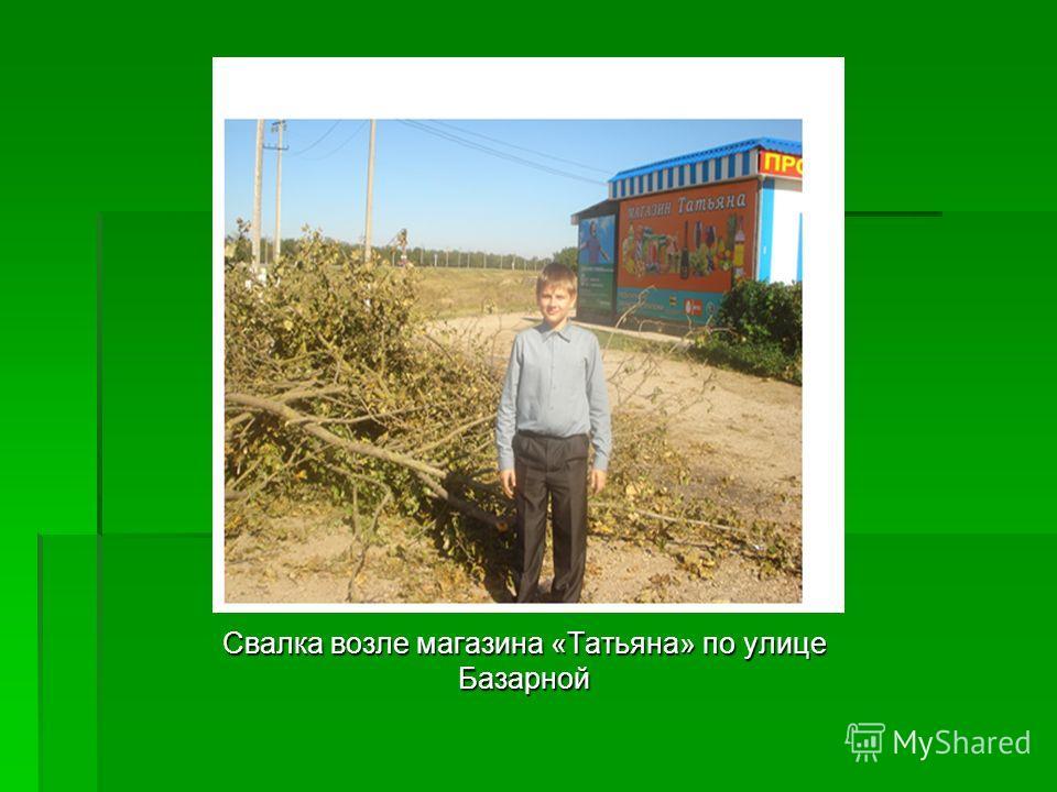 Свалка возле магазина «Татьяна» по улице Базарной