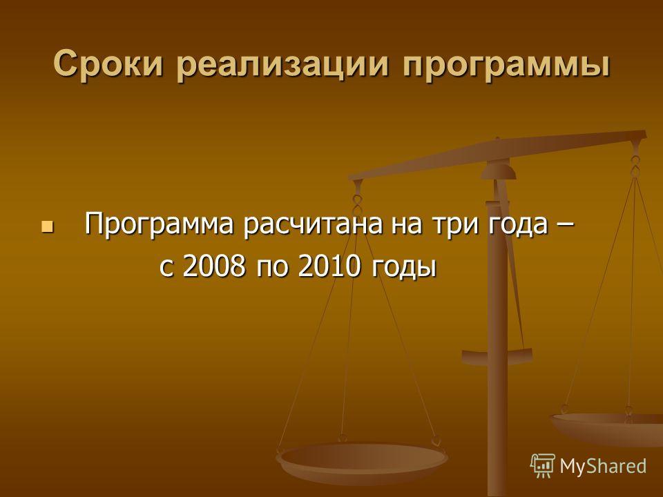 Сроки реализации программы Программа расчитана на три года – Программа расчитана на три года – с 2008 по 2010 годы с 2008 по 2010 годы