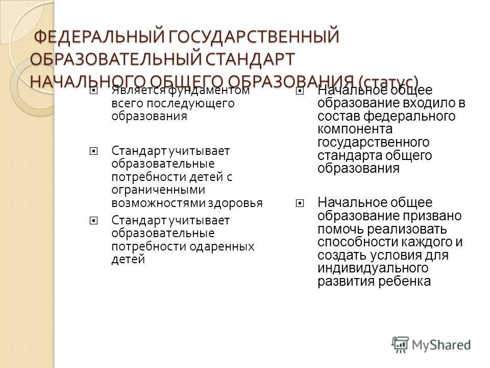 ФЕДЕРАЛЬНЫЙ ГОСУДАРСТВЕННЫЙ ОБРАЗОВАТЕЛЬНЫЙ СТАНДАРТ НАЧАЛЬНОГО ОБЩЕГО ОБРАЗОВАНИЯ ( статус ) ФЕДЕРАЛЬНЫЙ ГОСУДАРСТВЕННЫЙ ОБРАЗОВАТЕЛЬНЫЙ СТАНДАРТ НАЧАЛЬНОГО ОБЩЕГО ОБРАЗОВАНИЯ ( статус ) Является фундаментом всего последующего образования Стандарт у