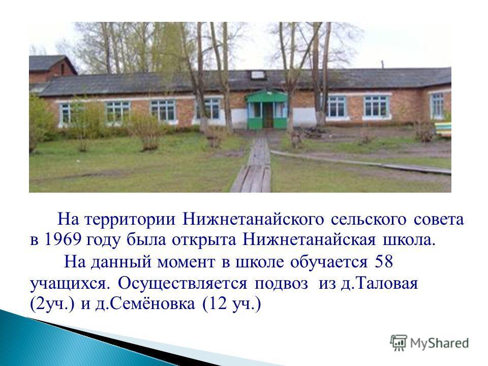 На территории Нижнетанайского сельского совета в 1969 году была открыта Нижнетанайская школа. На данный момент в школе обучается 58 учащихся. Осуществляется подвоз из д.Таловая (2уч.) и д.Семёновка (12 уч.)