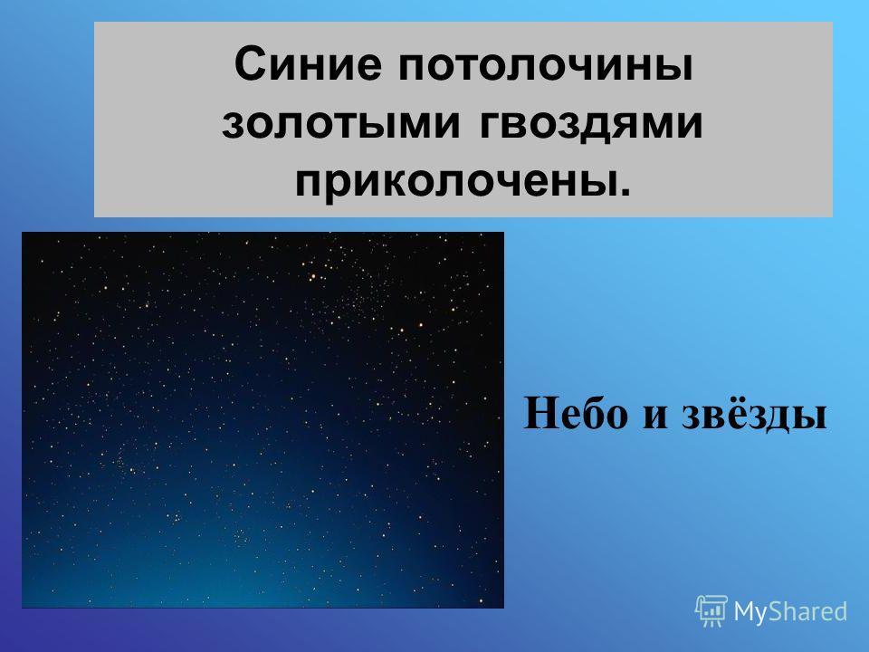 Синие потолочины золотыми гвоздями приколочены. Небо и звёзды