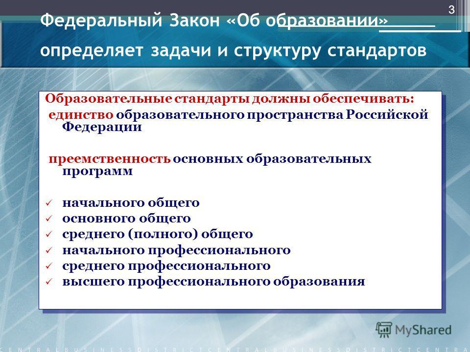 Федеральный Закон «Об образовании» определяет задачи и структуру стандартов Образовательные стандарты должны обеспечивать: единство образовательного пространства Российской Федерации преемственность основных образовательных программ начального общего
