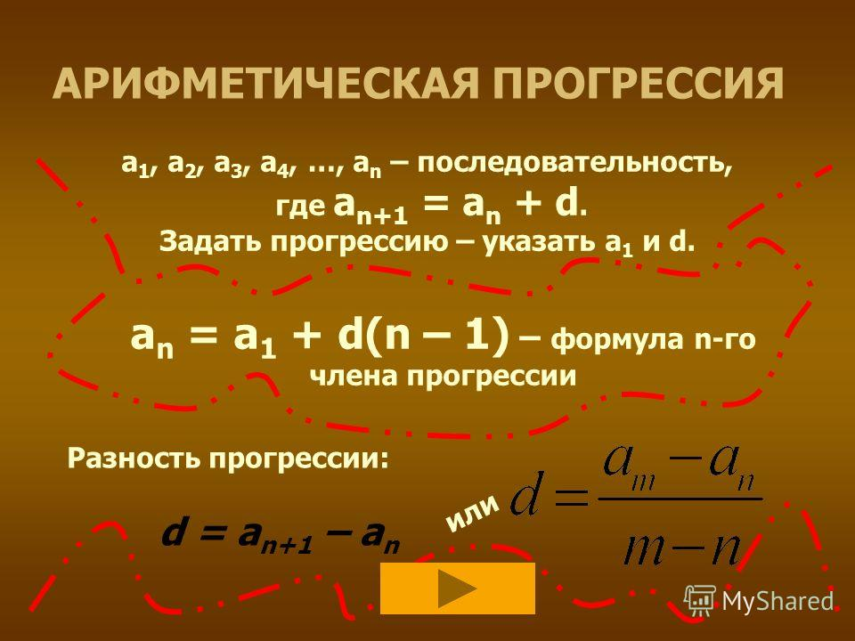 АРИФМЕТИЧЕСКАЯ ПРОГРЕССИЯ а 1, а 2, а 3, а 4, …, а n – последовательность, где а n+1 = a n + d. Задать прогрессию – указать а 1 и d. а n = а 1 + d(n – 1) – формула n-го члена прогрессии Разность прогрессии: d = a n+1 – a n или