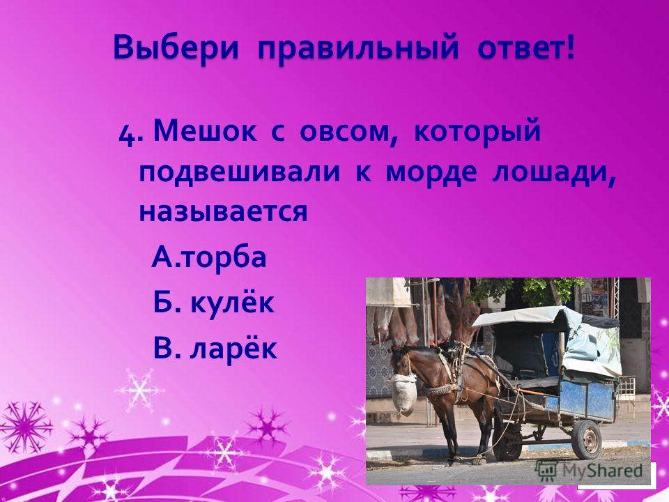 Powerpoint Templates Page 5 Выбери правильный ответ ! 4. Мешок с овсом, который подвешивали к морде лошади, называется А. торба Б. кулёк В. ларёк