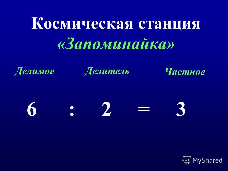 Космическая станция «Запоминайка» 6 : 2 = 3 ДелимоеДелитель Частное