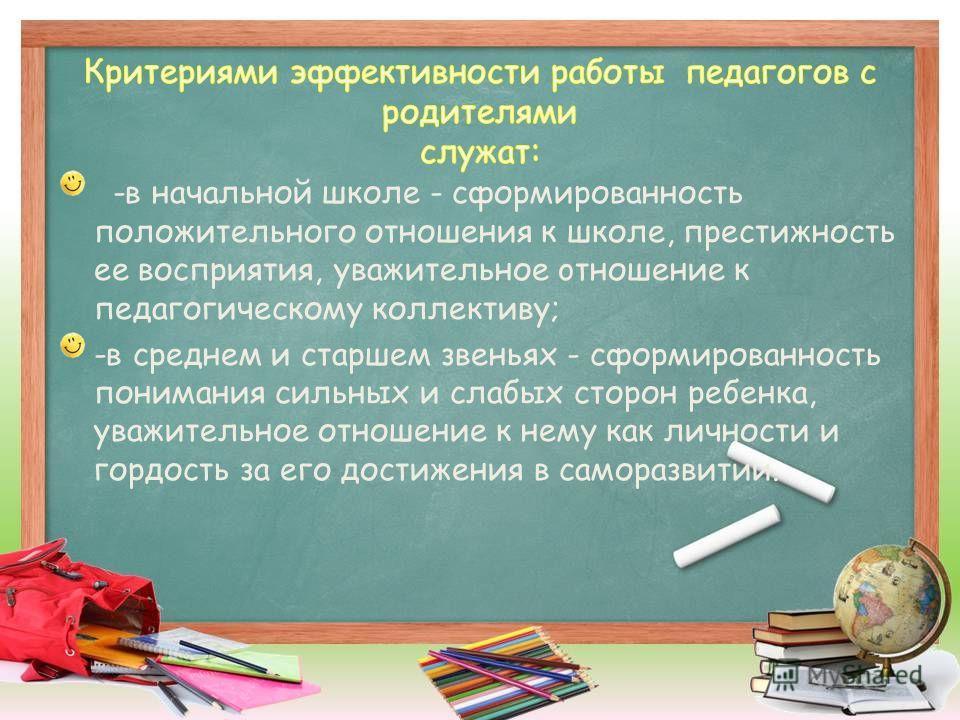 -в начальной школе - сформированность положительного отношения к школе, престижность ее восприятия, уважительное oтношение к педагогическому коллективу; -в среднем и старшем звеньях - сформированность понимания сильных и слабых сторон ребенка, уважит
