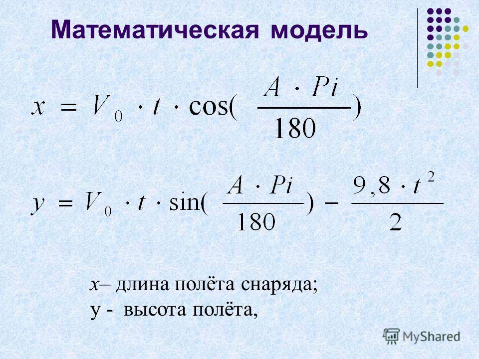 Математическая модель x– длина полёта снаряда; y - высота полёта,