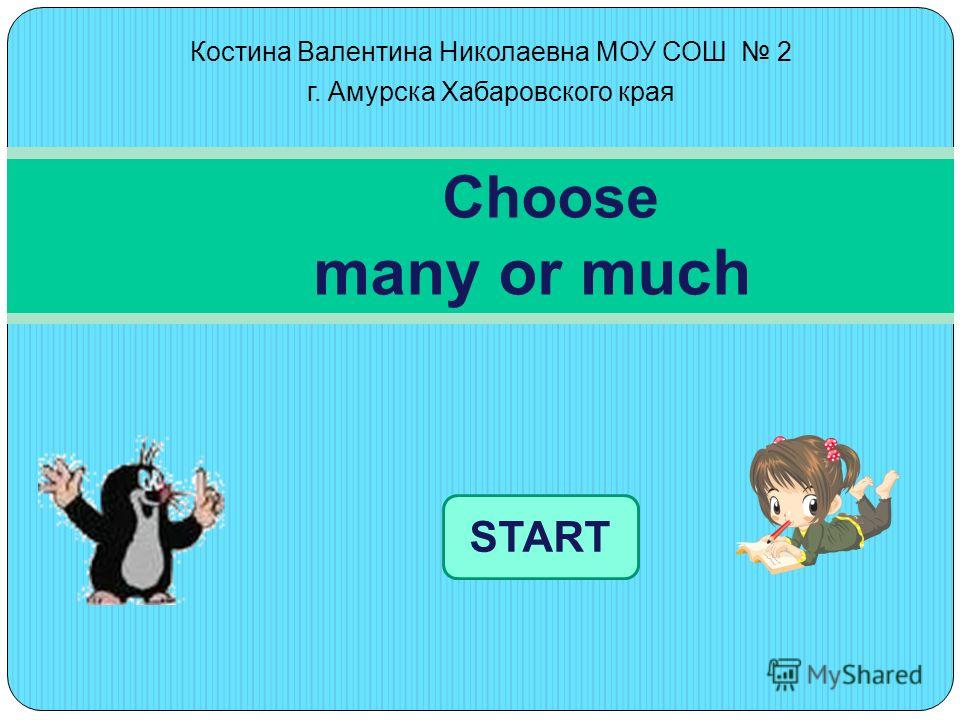 Костина Валентина Николаевна МОУ СОШ 2 г. Амурска Хабаровского края Choose many or much START