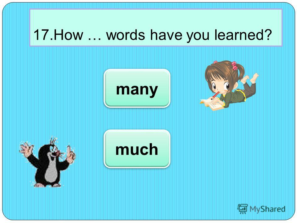17.How … words have you learned? many much