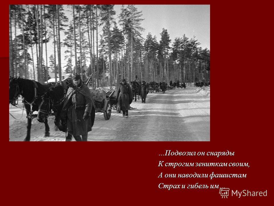 …Подвозил он снаряды К строгим зениткам своим, А они наводили фашистам Страх и гибель им…