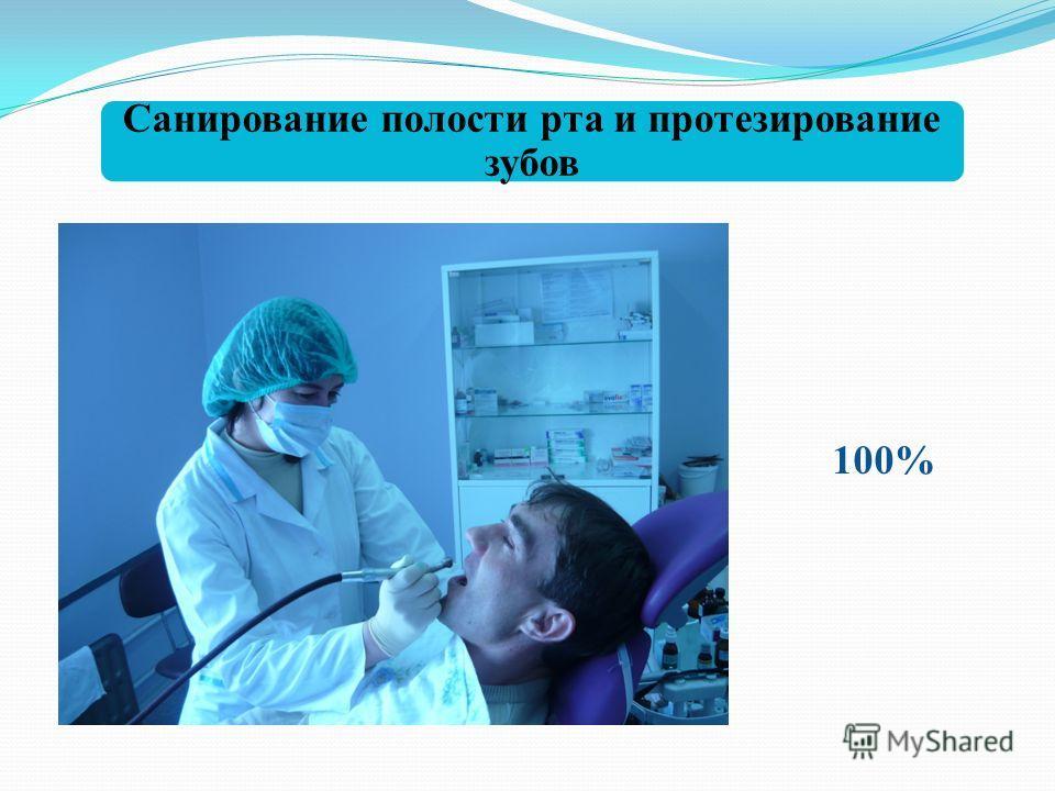Санирование полости рта и протезирование зубов 100%