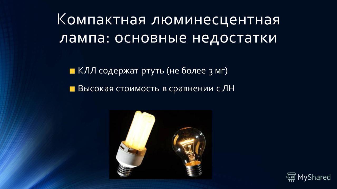 Компактная люминесцентная лампа: основные недостатки КЛЛ содержат ртуть (не более 3 мг) Высокая стоимость в сравнении с ЛН