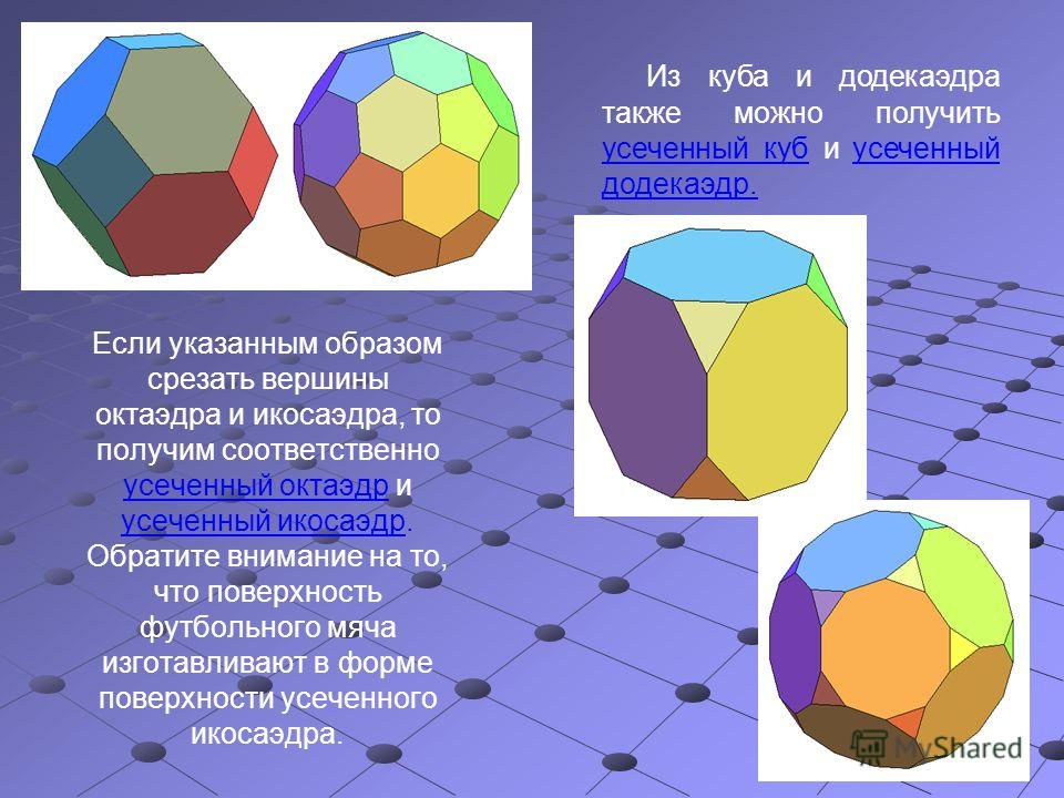 Если указанным образом срезать вершины октаэдра и икосаэдра, то получим соответственно усеченный октаэдр и усеченный икосаэдр. Обратите внимание на то, что поверхность футбольного мяча изготавливают в форме поверхности усеченного икосаэдра. Из куба и