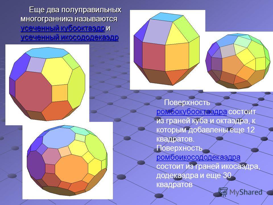 Еще два полуправильных многогранника называются усеченный кубооктаэдр и усеченный икосододекаэдр Еще два полуправильных многогранника называются усеченный кубооктаэдр и усеченный икосододекаэдр Поверхность ромбокубооктаэдра состоит из граней куба и о