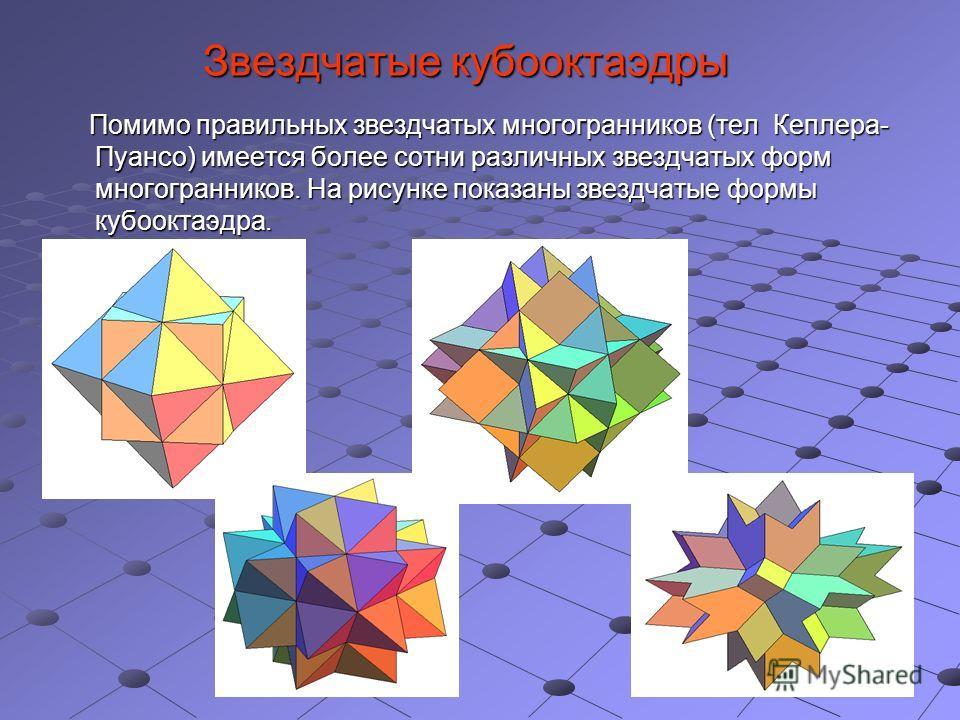 Звездчатые кубооктаэдры Помимо правильных звездчатых многогранников (тел Кеплера- Пуансо) имеется более сотни различных звездчатых форм многогранников. На рисунке показаны звездчатые формы кубооктаэдра. Помимо правильных звездчатых многогранников (те