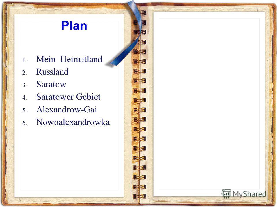 1. Mein Heimatland 2. Russland 3. Saratow 4. Saratower Gebiet 5. Alexandrow-Gai 6. Nowoalexandrowka Plan