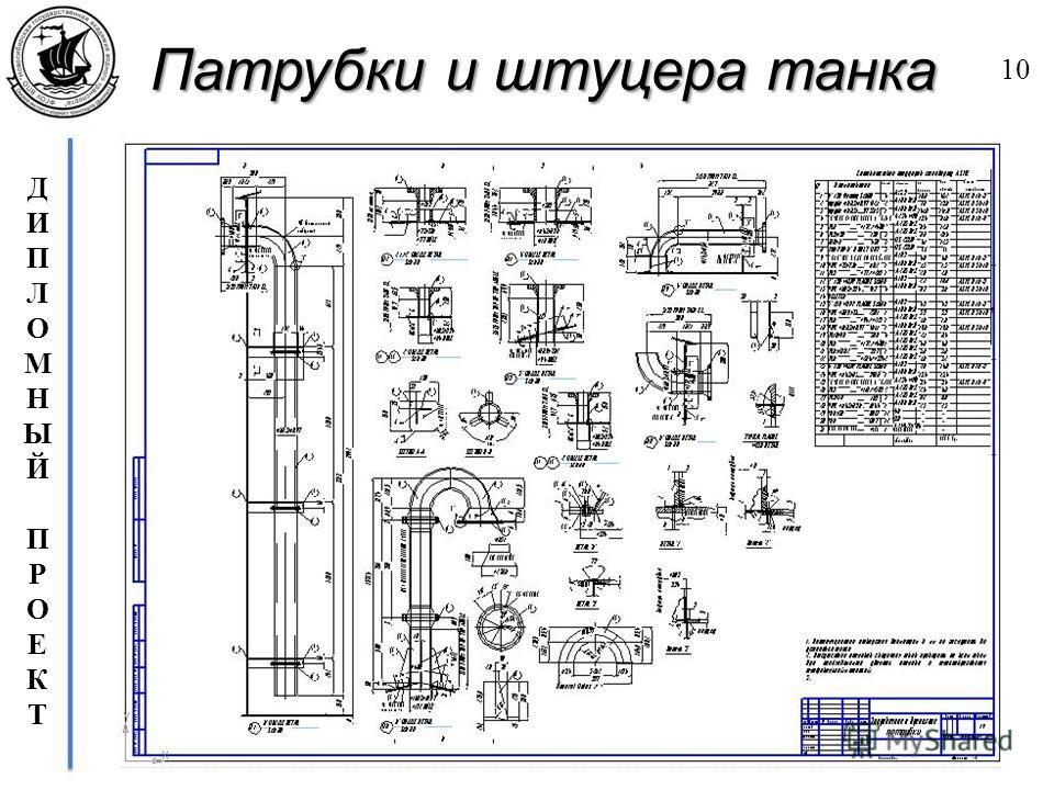 ДИПЛОМНЫЙПРОЕКТДИПЛОМНЫЙПРОЕКТ Патрубки и штуцера танка 10