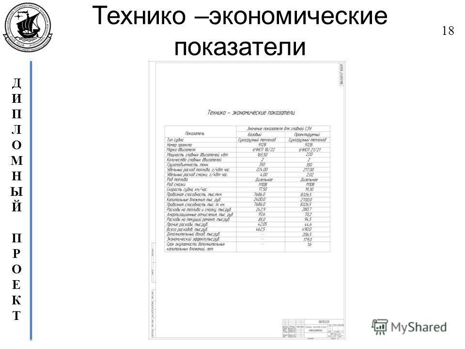 ДИПЛОМНЫЙПРОЕКТДИПЛОМНЫЙПРОЕКТ Технико –экономические показатели 18