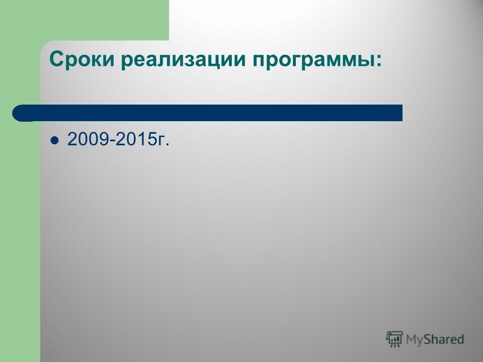 Сроки реализации программы: 2009-2015г.