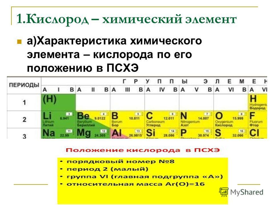 1.Кислород – химический элемент а)Характеристика химического элемента – кислорода по его положению в ПСХЭ