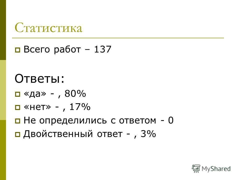 Статистика Всего работ – 137 Ответы: «да» -, 80% «нет» -, 17% Не определились с ответом - 0 Двойственный ответ -, 3%
