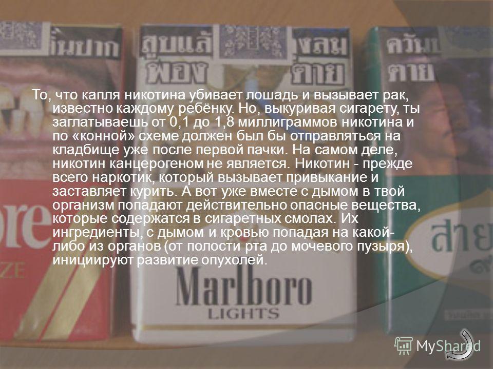Мифы о курении 1. Миф о курении 1. Самое вредное в сигарете это никотин… Миф о курении 1. 2. Миф о курении 2. Сигары и трубки курить безопаснее, поскольку ими не затягиваются Миф о курении 2. 3. Миф о курении 3. Курение успокаивает нервы и спасает от