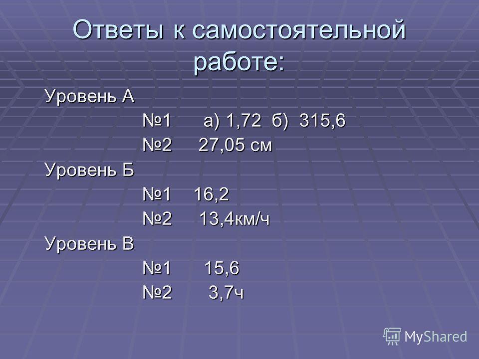 Ответы к самостоятельной работе: Уровень А Уровень А 1 а) 1,72 б) 315,6 1 а) 1,72 б) 315,6 2 27,05 см 2 27,05 см Уровень Б Уровень Б 1 16,2 1 16,2 2 13,4км/ч 2 13,4км/ч Уровень В Уровень В 1 15,6 1 15,6 2 3,7ч 2 3,7ч