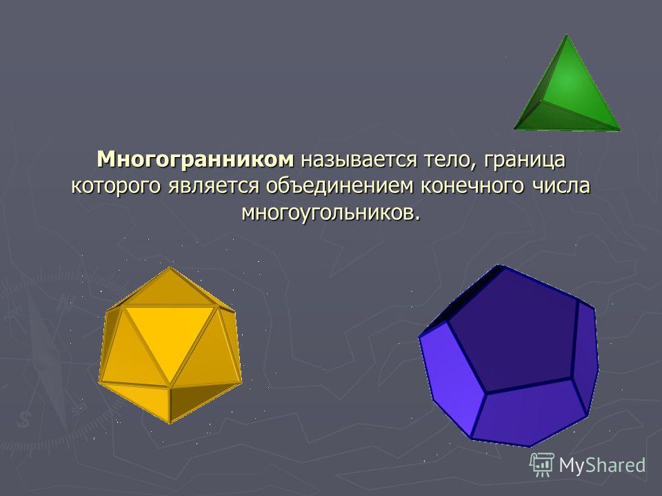 Многогранником называется тело, граница которого является объединением конечного числа многоугольников.