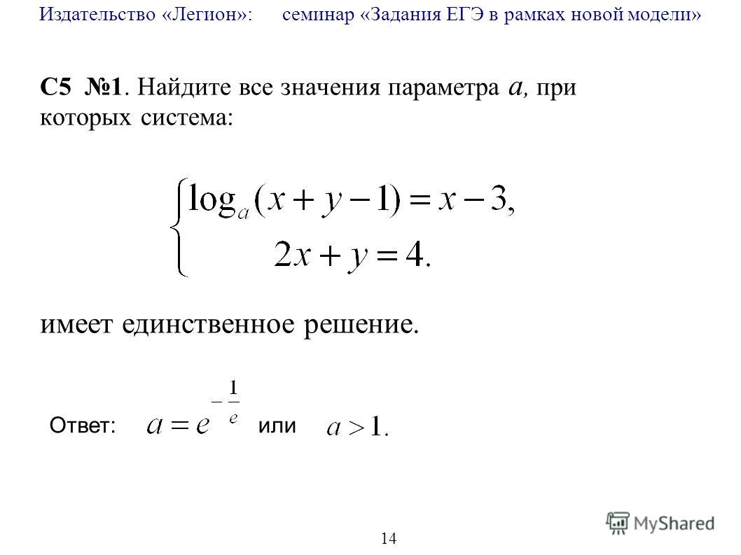 Издательство «Легион»: семинар «Задания ЕГЭ в рамках новой модели» 14 C5 1. Найдите все значения параметра a, при которых система: имеет единственное решение. Ответ: или