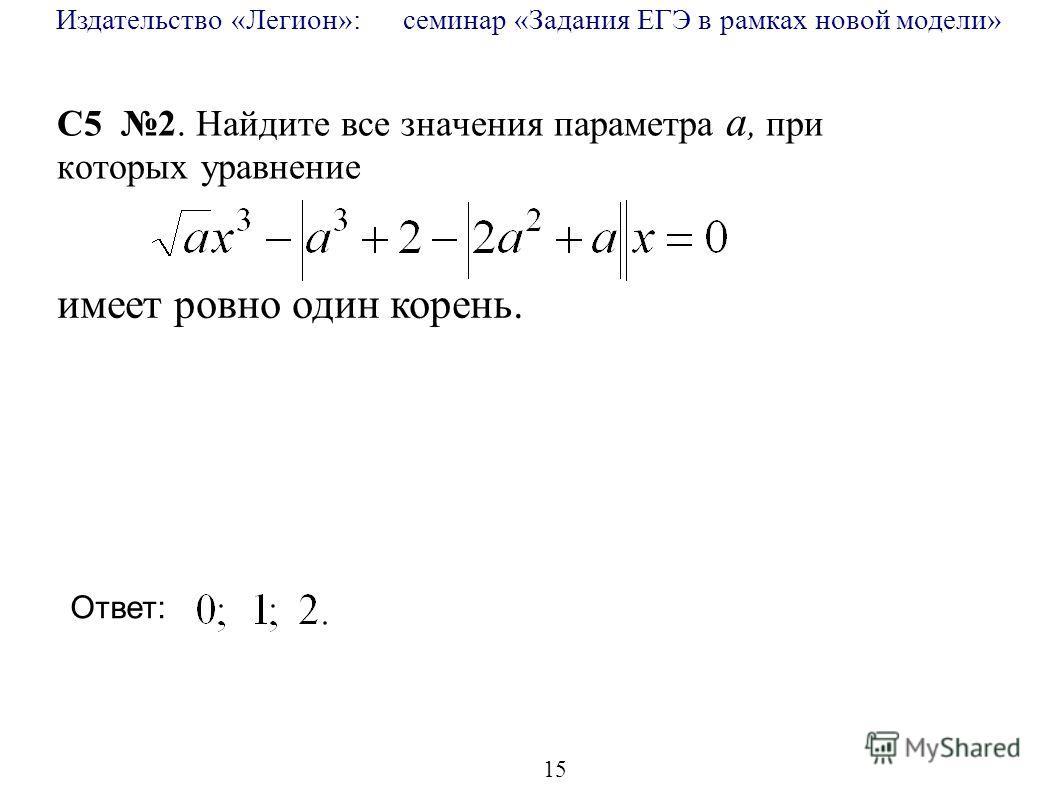 Издательство «Легион»: семинар «Задания ЕГЭ в рамках новой модели» 15 C5 2. Найдите все значения параметра a, при которых уравнение имеет ровно один корень. Ответ:
