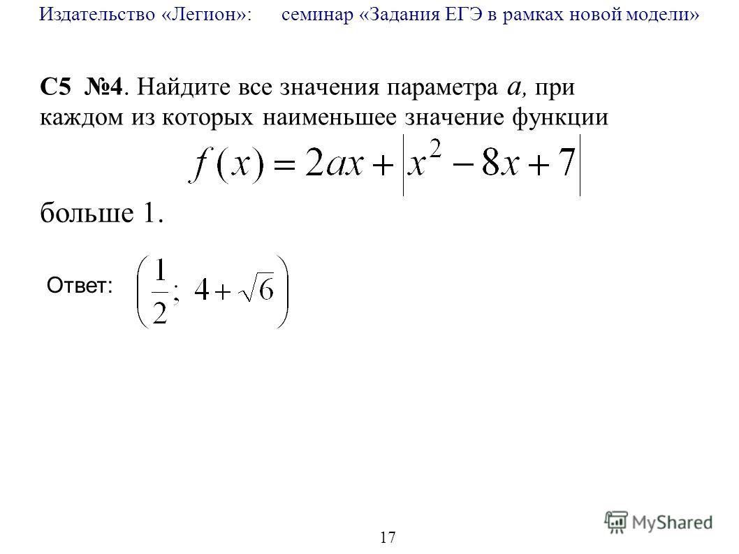 Издательство «Легион»: семинар «Задания ЕГЭ в рамках новой модели» 17 C5 4. Найдите все значения параметра a, при каждом из которых наименьшее значение функции больше 1. Ответ: