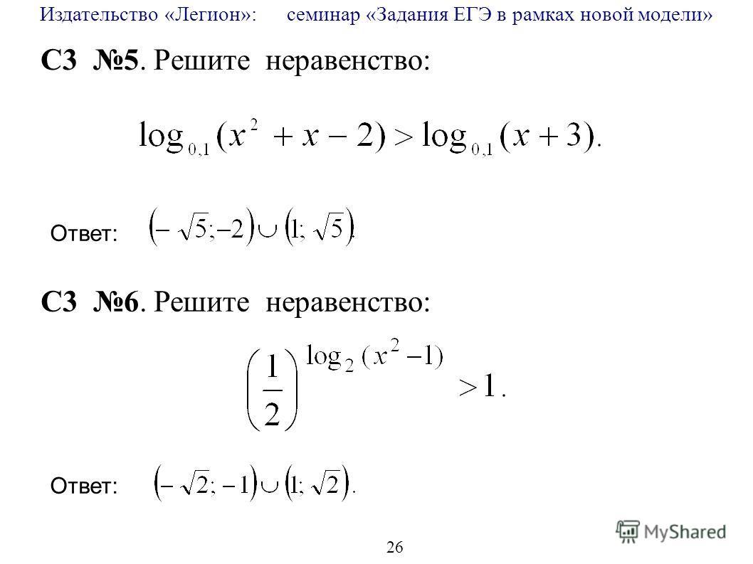 Издательство «Легион»: семинар «Задания ЕГЭ в рамках новой модели» 26 C3 5. Решите неравенство: C3 6. Решите неравенство: Ответ: