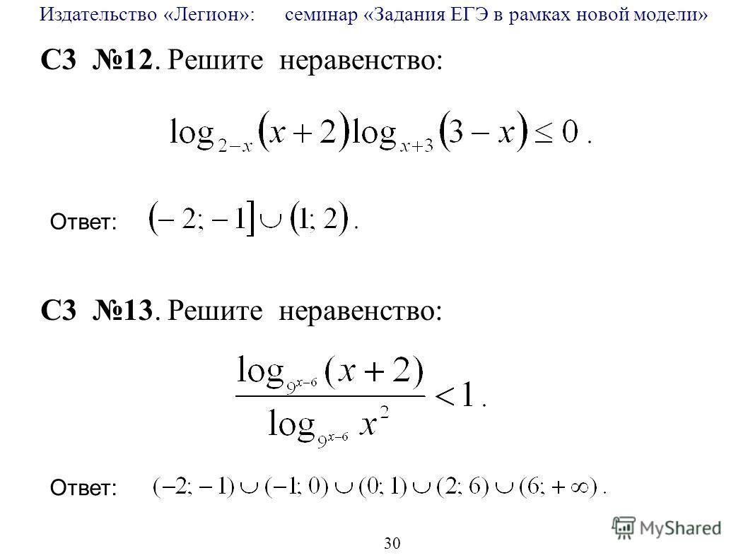 Издательство «Легион»: семинар «Задания ЕГЭ в рамках новой модели» 30 C3 12. Решите неравенство: C3 13. Решите неравенство: Ответ: