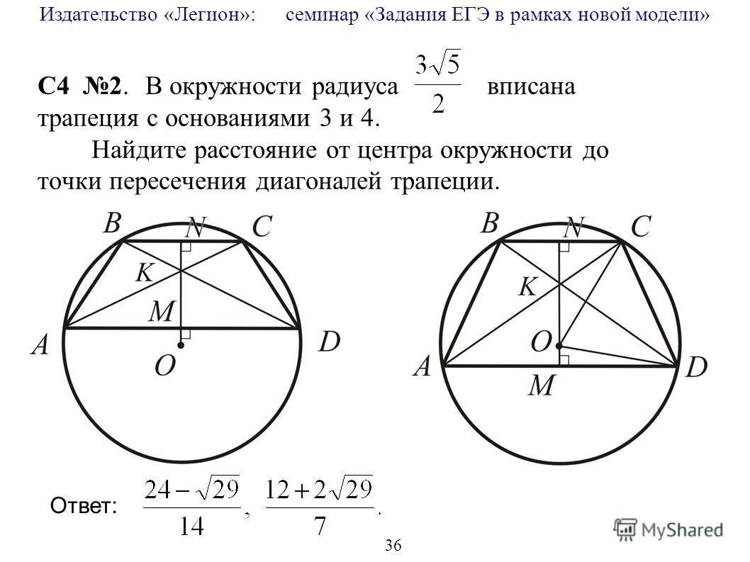 Издательство «Легион»: семинар «Задания ЕГЭ в рамках новой модели» 36 C4 2. В окружности радиуса вписана трапеция с основаниями 3 и 4. Найдите расстояние от центра окружности до точки пересечения диагоналей трапеции. Ответ: