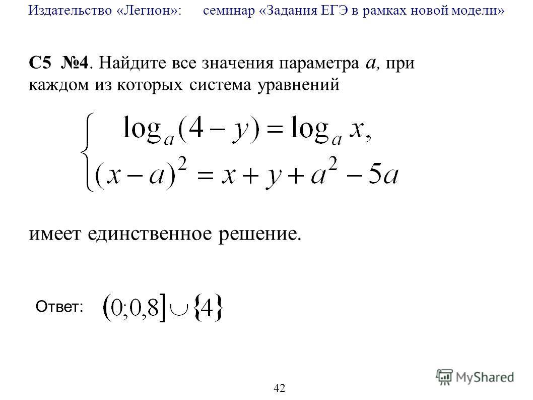 Издательство «Легион»: семинар «Задания ЕГЭ в рамках новой модели» 42 C5 4. Найдите все значения параметра a, при каждом из которых система уравнений имеет единственное решение. Ответ: