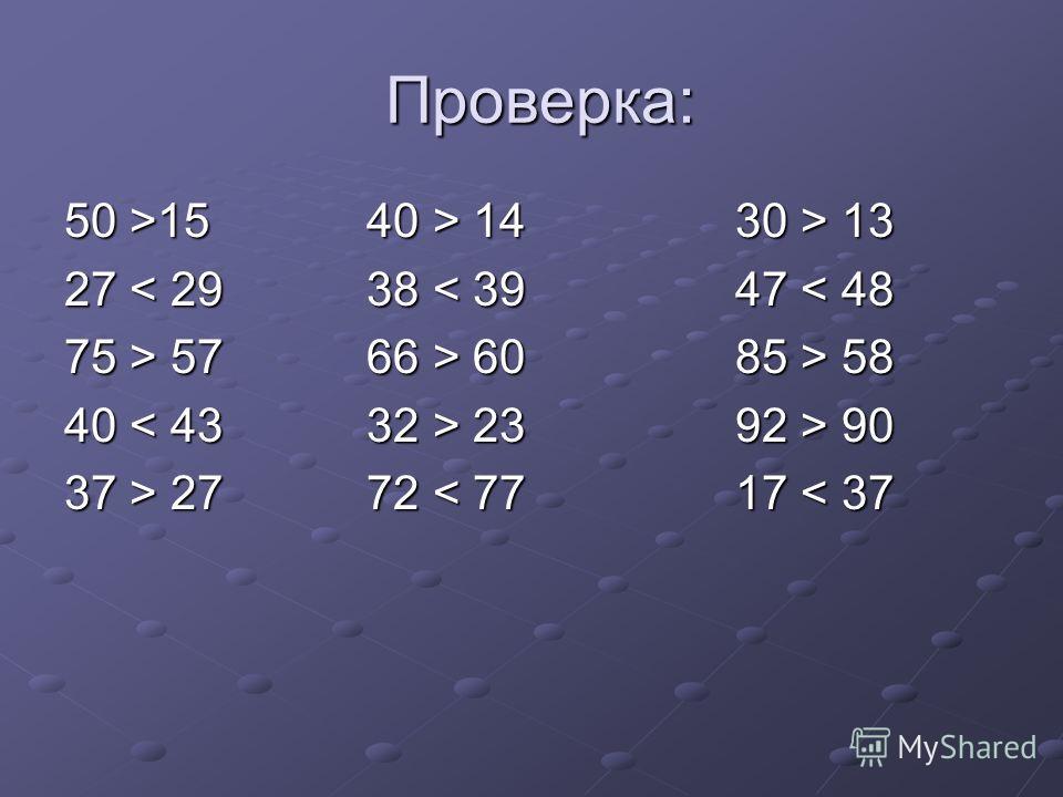 Проверка: Проверка: 50 >15 40 > 14 30 > 13 27 < 29 38 < 39 47 < 48 75 > 57 66 > 60 85 > 58 40 23 92 > 90 37 > 27 72 27 72 < 77 17 < 37