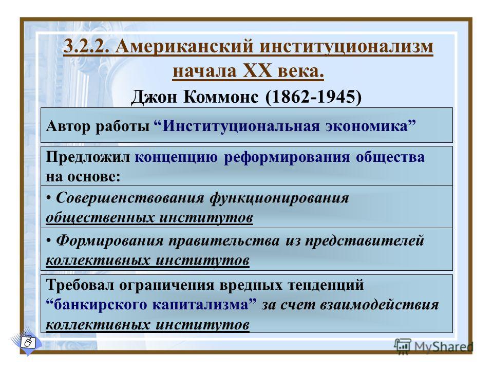 Джон Коммонс (1862-1945) 3.2.2. Американский институционализм начала XX века. Совершенствования функционирования общественных институтов Формирования правительства из представителей коллективных институтов Предложил концепцию реформирования общества