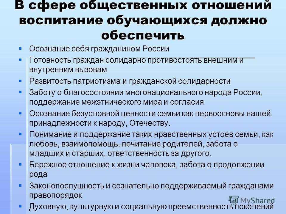В сфере общественных отношений воспитание обучающихся должно обеспечить Осознание себя гражданином России Готовность граждан солидарно противостоять внешним и внутренним вызовам Развитость патриотизма и гражданской солидарности Заботу о благосостояни