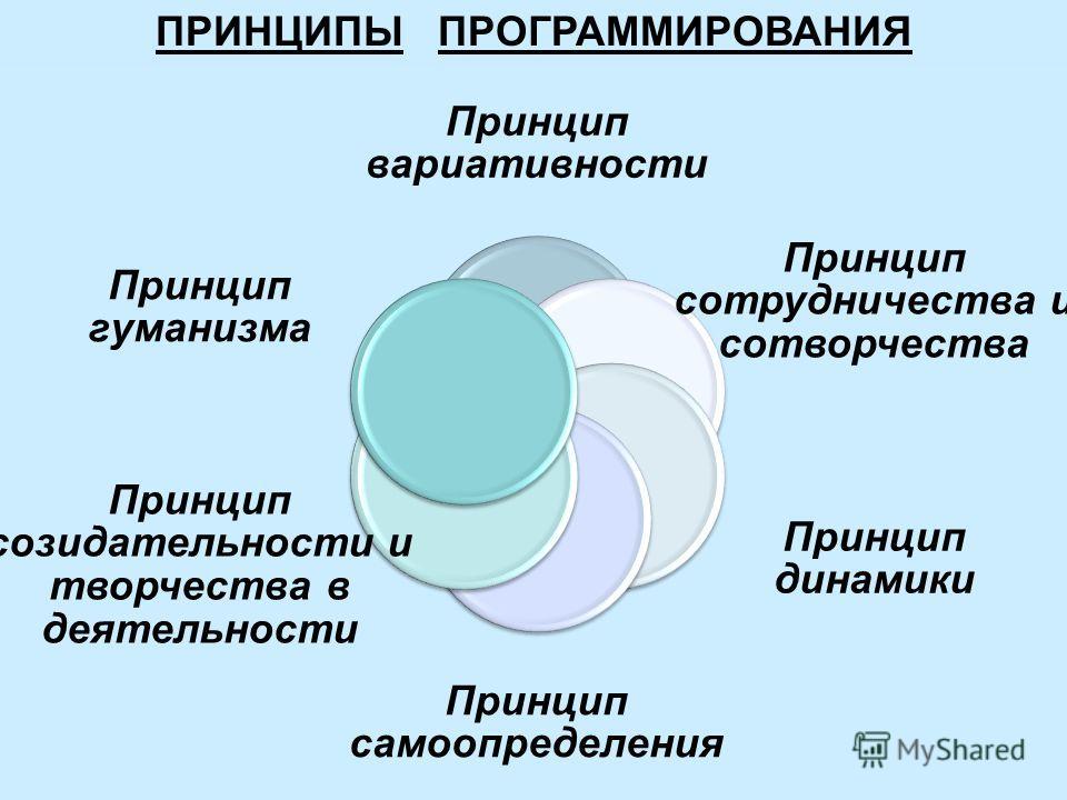 ПРИНЦИПЫ ПРОГРАММИРОВАНИЯ Принцип вариативности Принцип сотрудничества и сотворчества Принцип динамики Принцип самоопределения Принцип созидательности и творчества в деятельности Принцип гуманизма