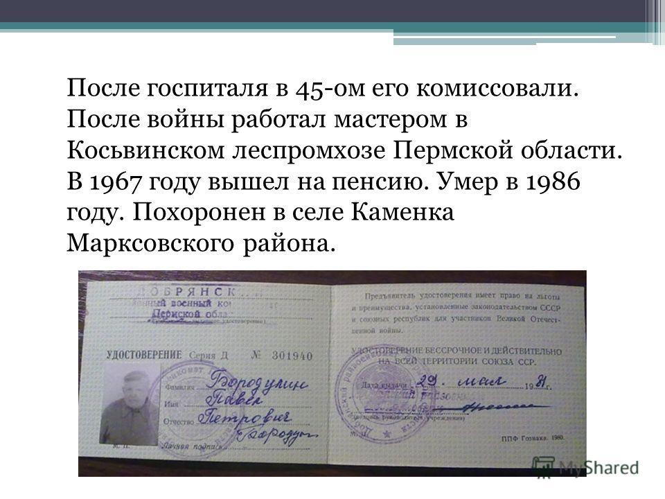 После госпиталя в 45-ом его комиссовали. После войны работал мастером в Косьвинском леспромхозе Пермской области. В 1967 году вышел на пенсию. Умер в 1986 году. Похоронен в селе Каменка Марксовского района.