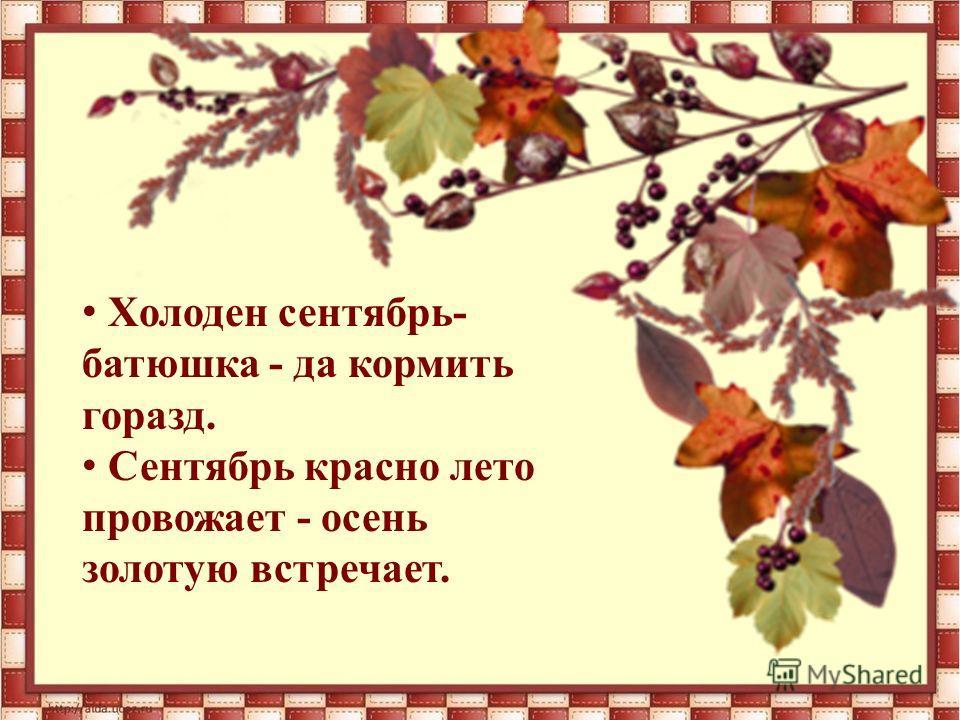 Холоден сентябрь- батюшка - да кормить горазд. Сентябрь красно лето провожает - осень золотую встречает.