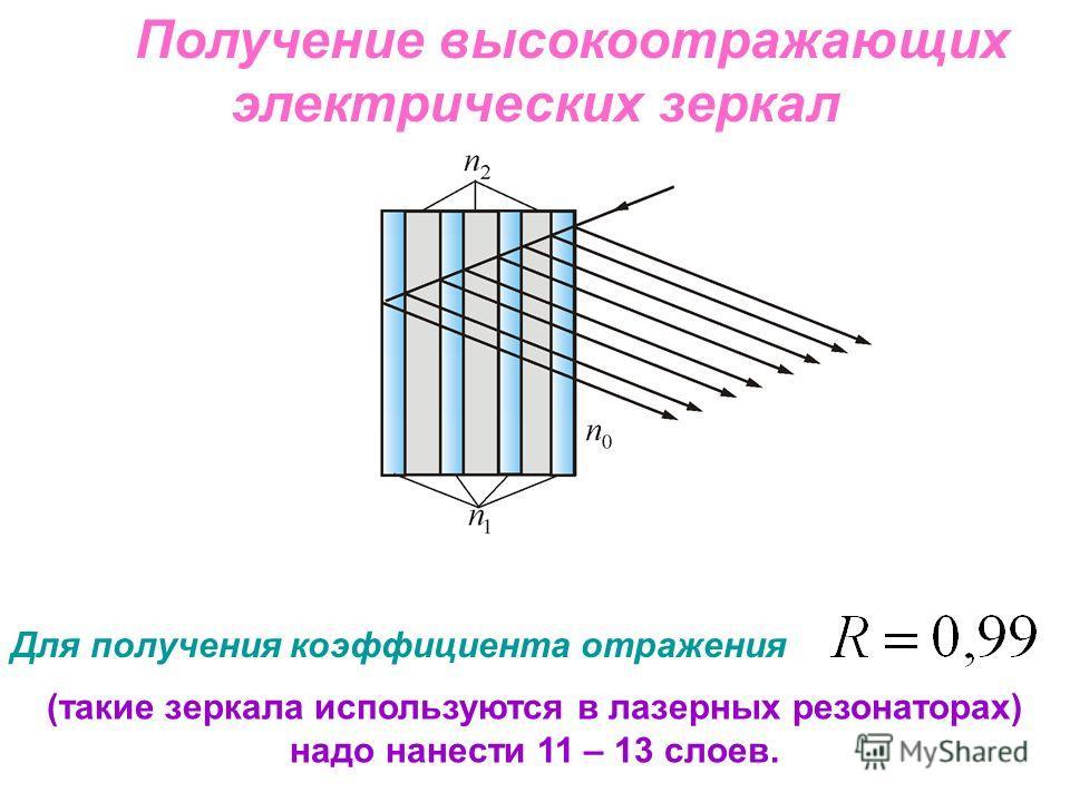 Получение высокоотражающих электрических зеркал Для получения коэффициента отражения (такие зеркала используются в лазерных резонаторах) надо нанести 11 – 13 слоев.