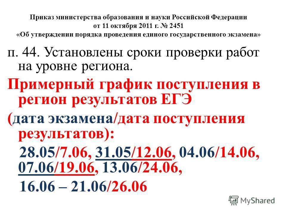 Приказ министерства образования и науки Российской Федерации от 11 октября 2011 г. 2451 «Об утверждении порядка проведения единого государственного экзамена» п. 44. Установлены сроки проверки работ на уровне региона. Примерный график поступления в ре