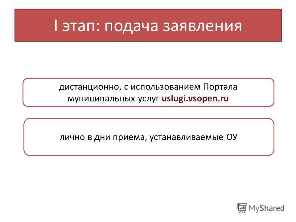 I этап: подача заявления дистанционно, с использованием Портала муниципальных услуг uslugi.vsopen.ru лично в дни приема, устанавливаемые ОУ