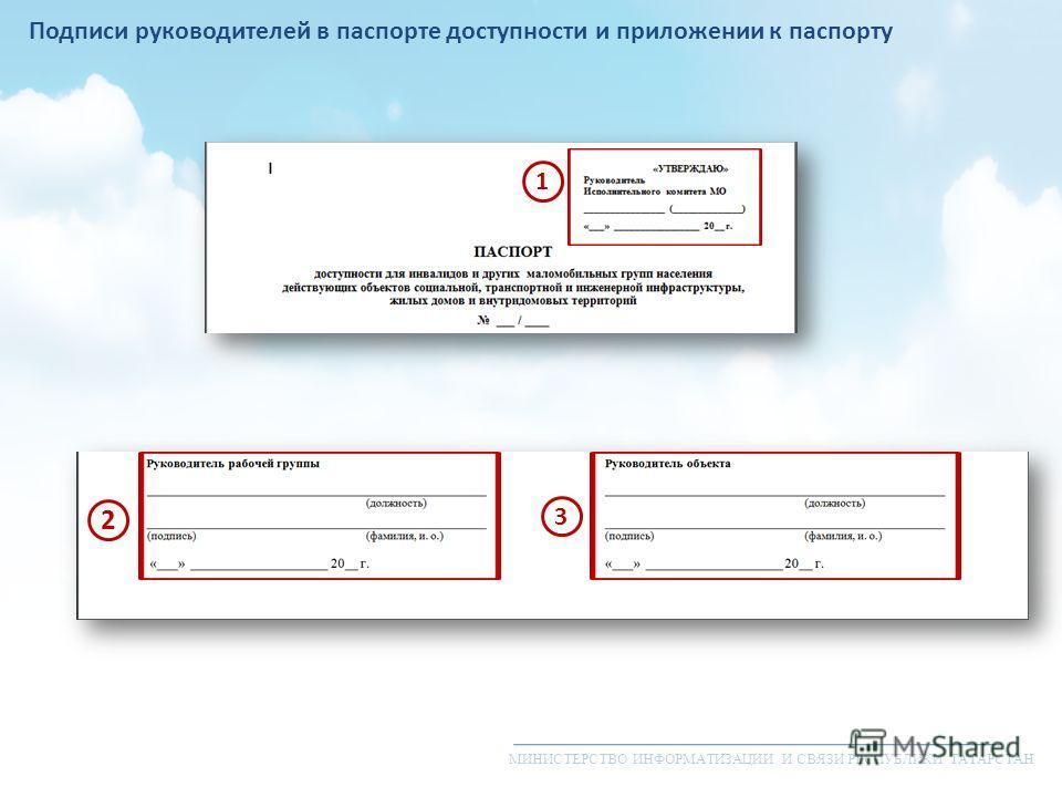МИНИСТЕРСТВО ИНФОРМАТИЗАЦИИ И СВЯЗИ РЕСПУБЛИКИ ТАТАРСТАН Подписи руководителей в паспорте доступности и приложении к паспорту 1 2 3