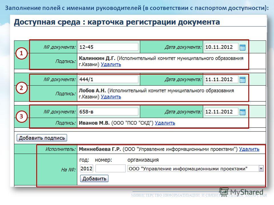МИНИСТЕРСТВО ИНФОРМАТИЗАЦИИ И СВЯЗИ РЕСПУБЛИКИ ТАТАРСТАН Заполнение полей с именами руководителей (в соответствии с паспортом доступности): 1 2 3