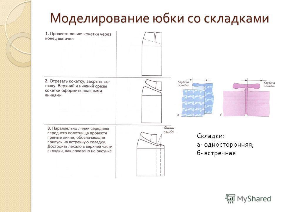 Моделирование юбки со складками Складки: а- односторонняя; б- встречная