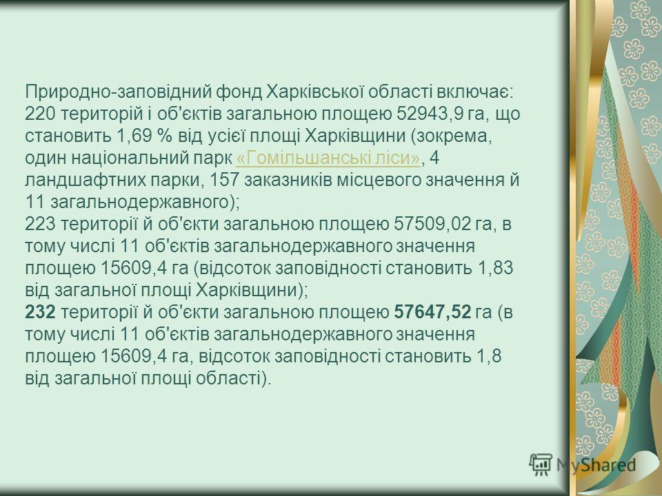 Природно-заповідний фонд Харківської області включає: 220 територій і об'єктів загальною площею 52943,9 га, що становить 1,69 % від усієї площі Харківщини (зокрема, один національний парк «Гомільшанські ліси», 4 ландшафтних парки, 157 заказників місц