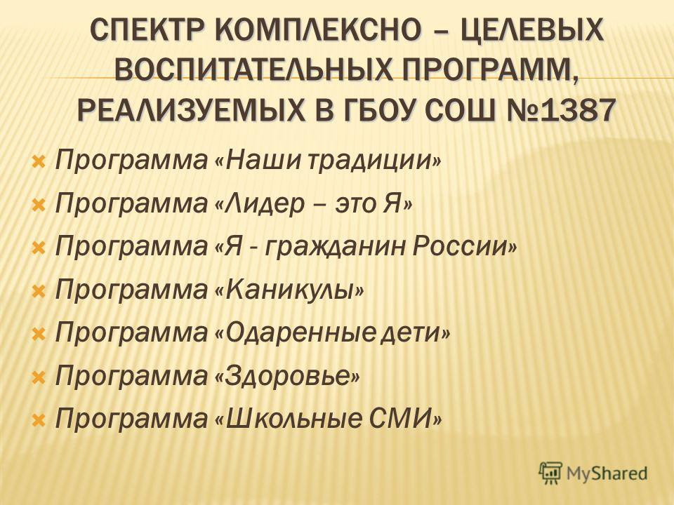 СПЕКТР КОМПЛЕКСНО – ЦЕЛЕВЫХ ВОСПИТАТЕЛЬНЫХ ПРОГРАММ, РЕАЛИЗУЕМЫХ В ГБОУ СОШ 1387 Программа «Наши традиции» Программа «Лидер – это Я» Программа «Я - гражданин России» Программа «Каникулы» Программа «Одаренные дети» Программа «Здоровье» Программа «Школ